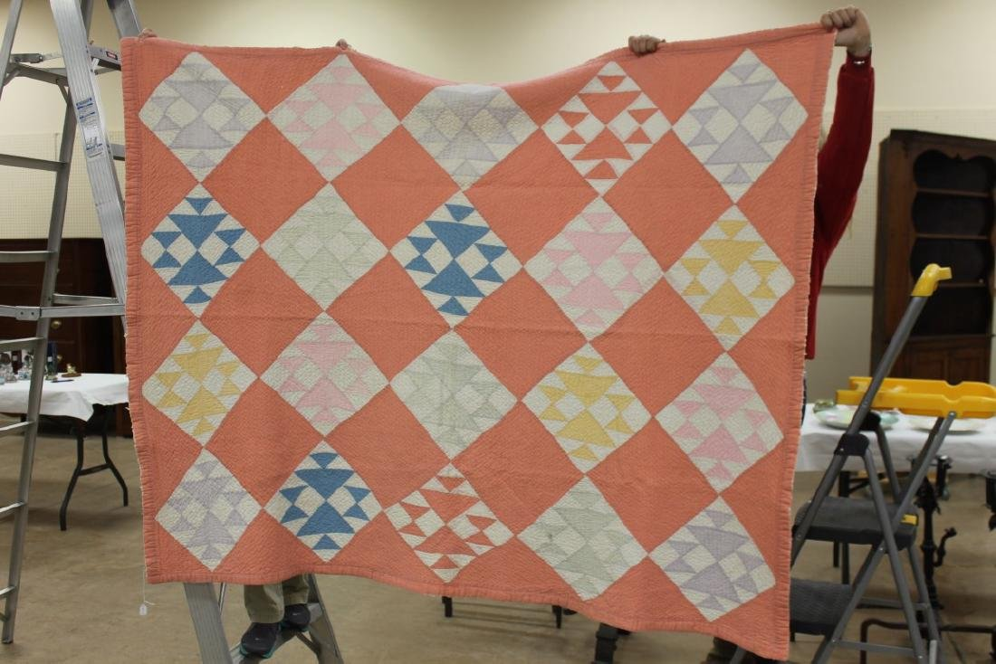 "Pink block or double basket quilt, app. 75"" X 61."