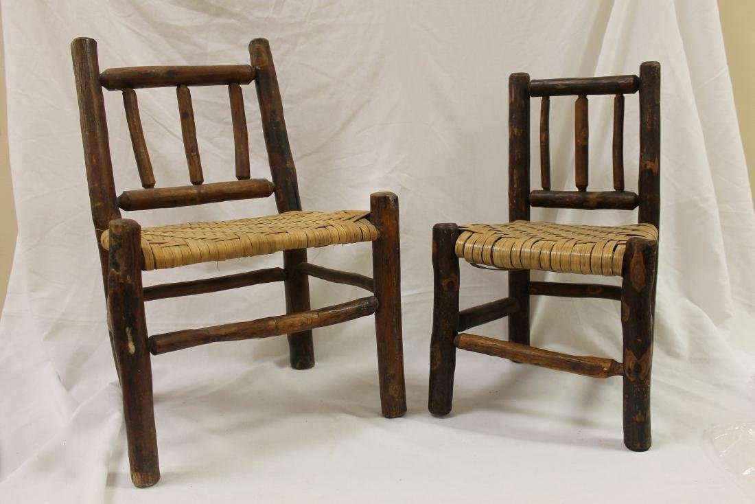 (2) Old Hickory chairs, largest with newer seat marked