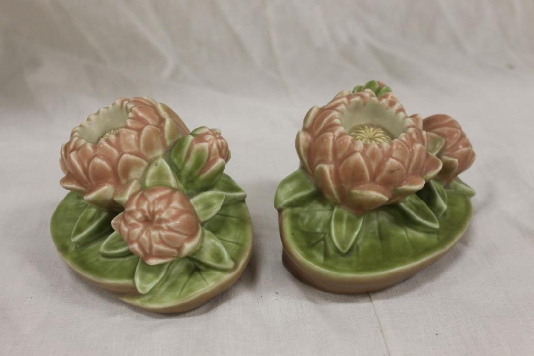 Rookwood 1928 #2836 Water Lily/Lotus bookends, 3 3/4""