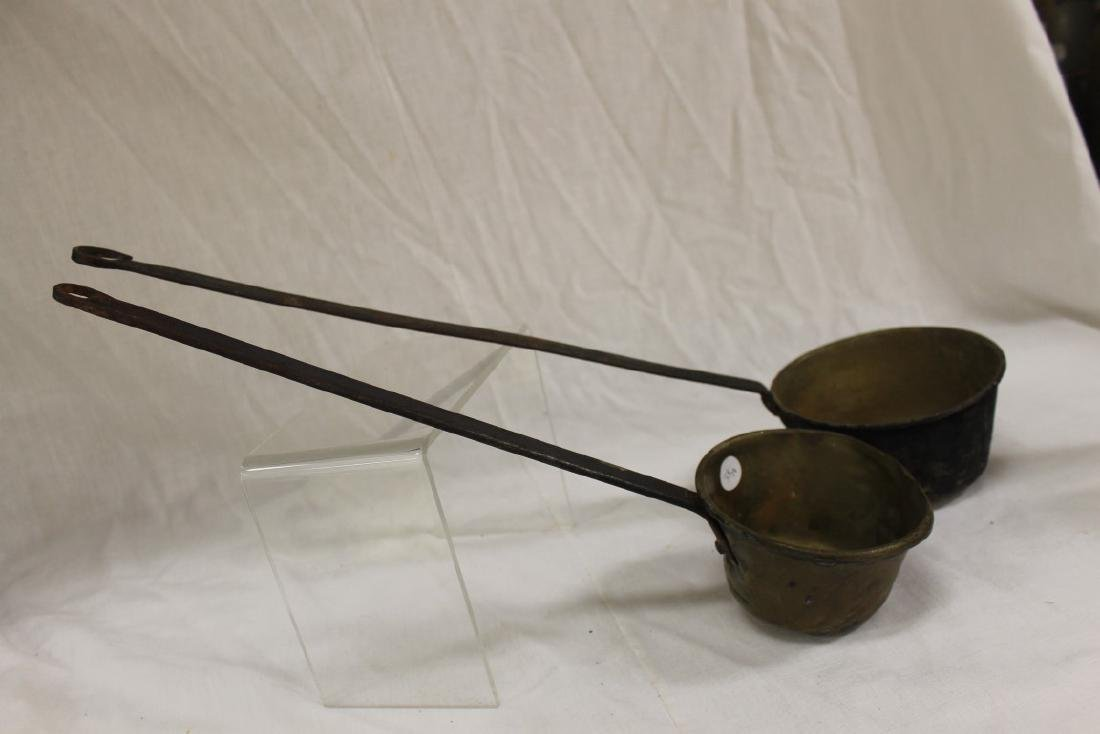 """(2) strap handle brass bowl dippers, 17"""" and 22 1/8"""""""