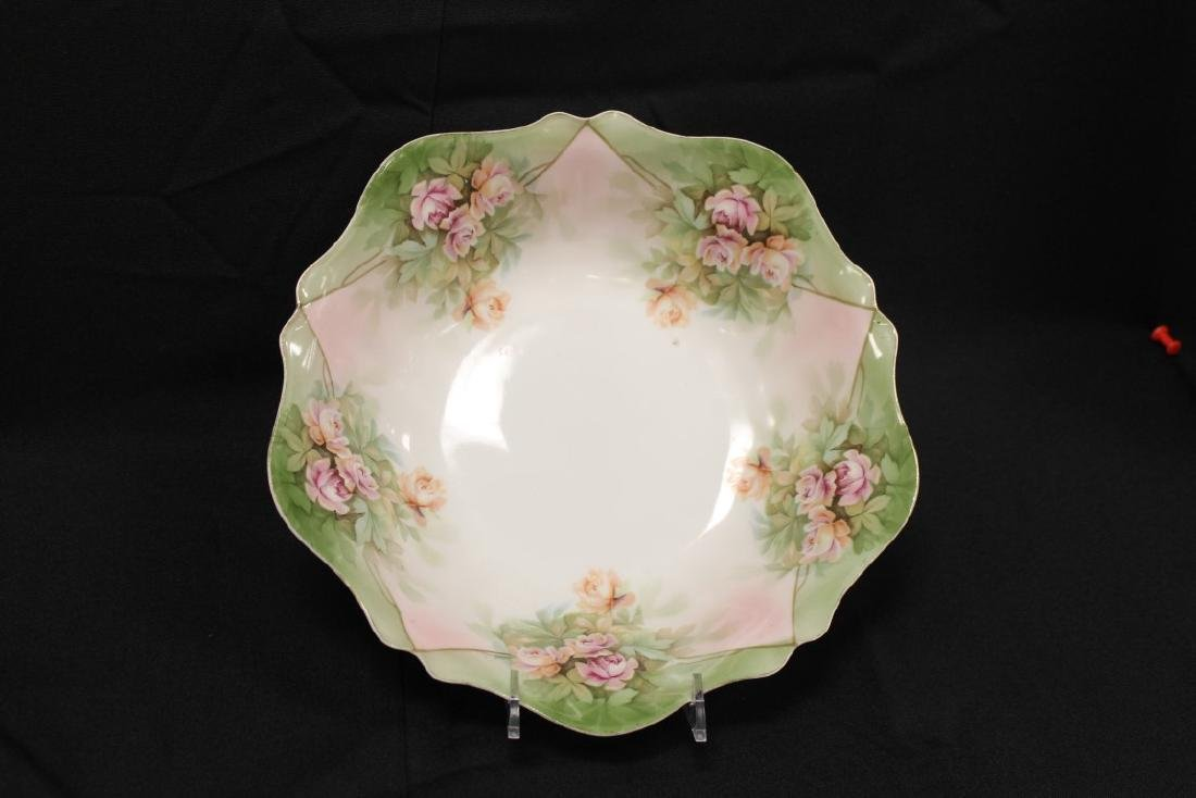 RS Germany rose decorated bowl with scalloped rim, 9