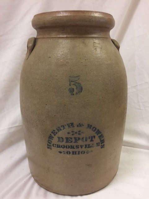 5 gallon Howerth & Bowers Depot Crooksville,  Ohio with