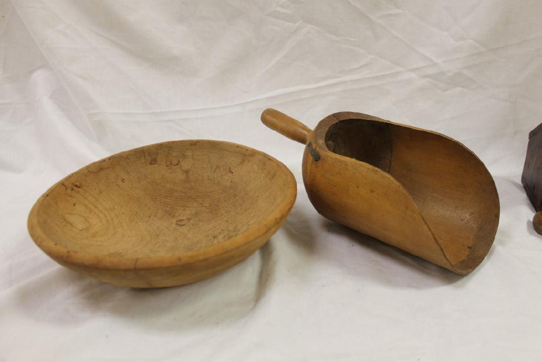 """12 1/2"""" turned maple dough bowl and large maple scoop"""