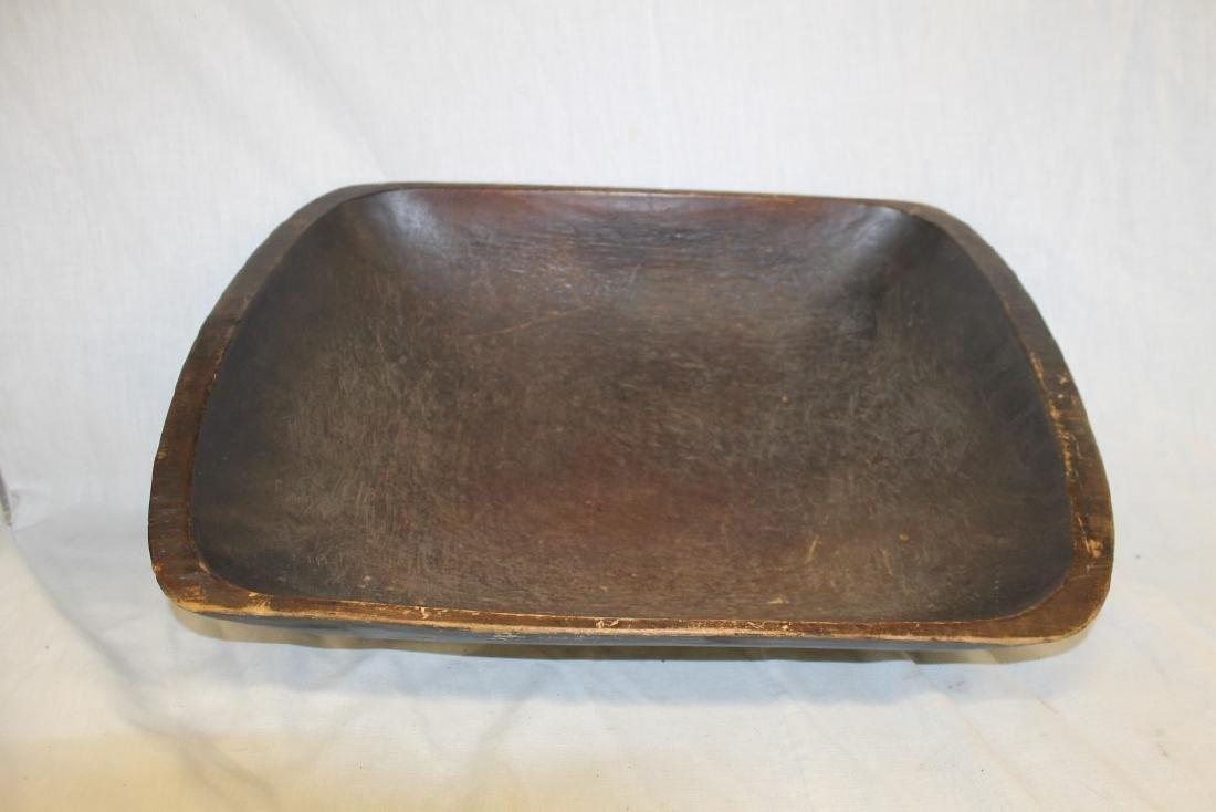 """Rectangular dough bowl with painted exterior, 14 5/8"""""""