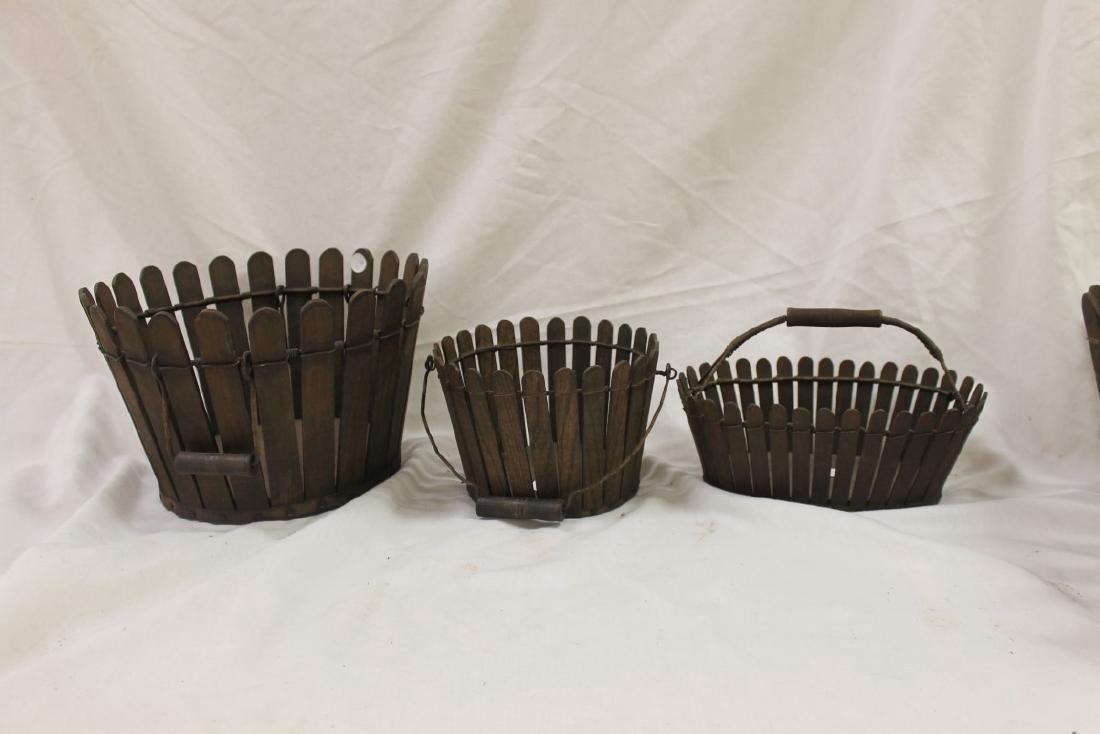 Slatted gathering baskets, (2) round, one oval.
