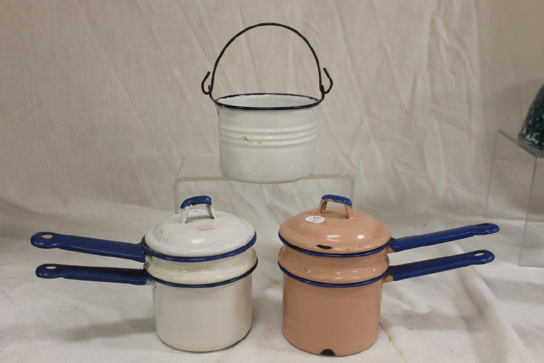 Graniteware:  Pink with blue trim double boiler; white