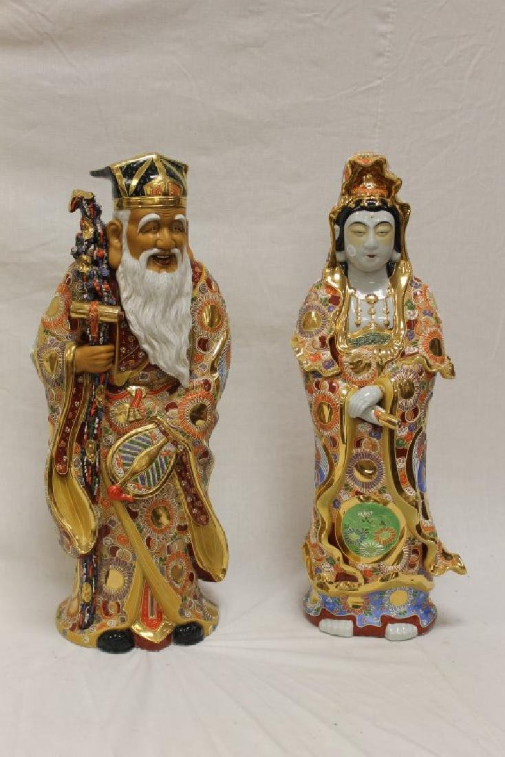 "Pair of gold decorated Oriental figures, app. 29 1/2"""