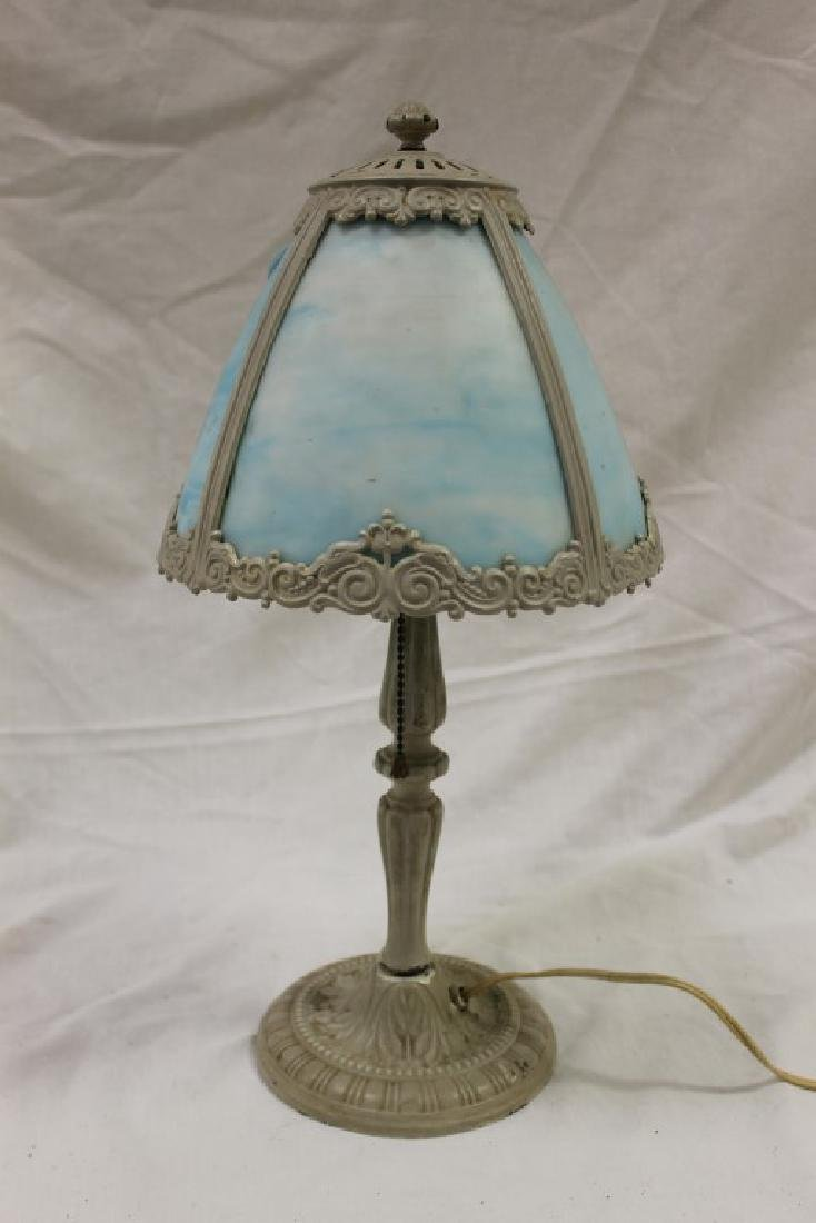 Painted budouir lamp with molded acanthus base and