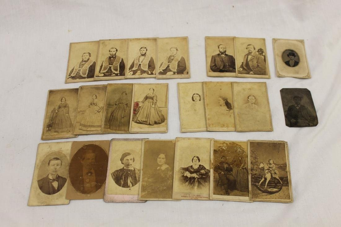 CDV and tin-type photos:  Full figures of (4) ladies