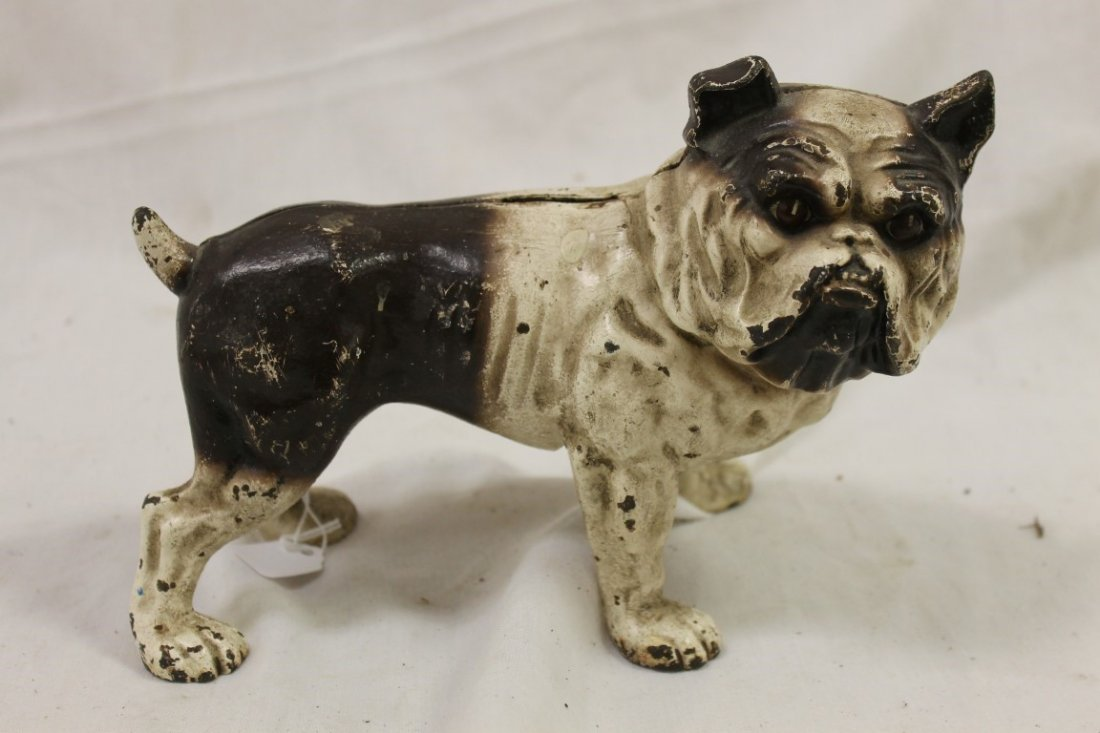 "Cast iron Bulldog bank, some paint loss, app. 6"" at ear"