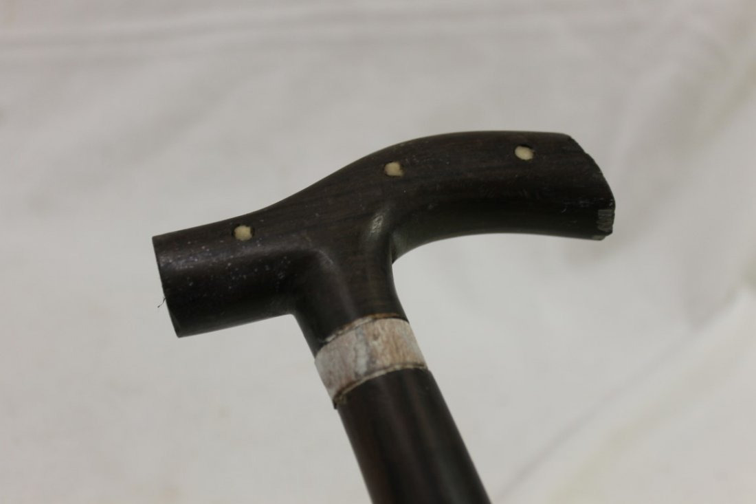 """Cane with bone and wood inlay, 36 3/4"""""""