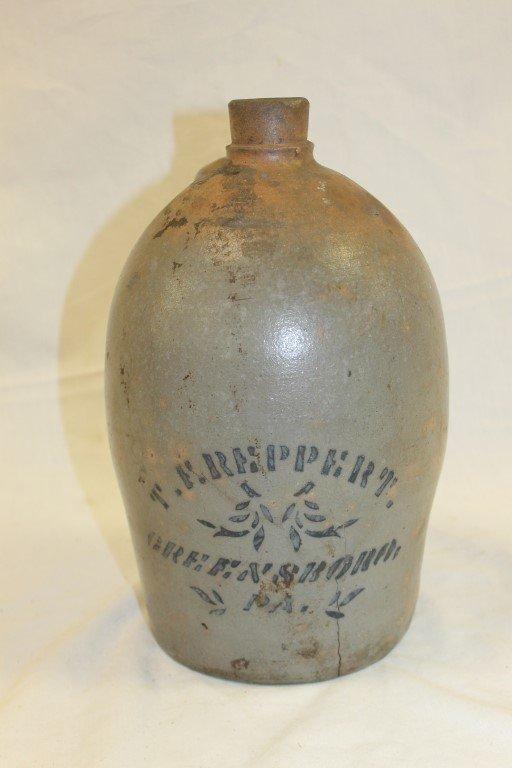 T. F. Reppert Greensboro, PA stone jug, 1 gallon, crack
