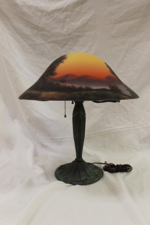 """17 1/2"""" domed reverse painted on glass shade signed """"Ba"""