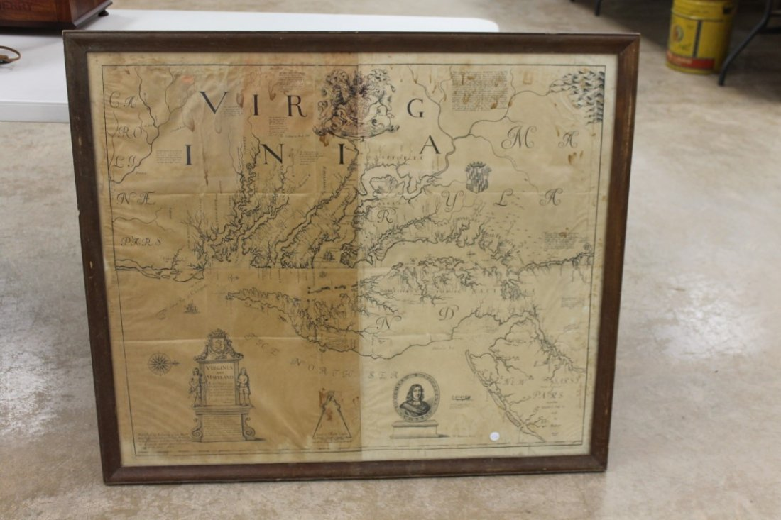 Framed copy of an Augustine Herrman 1673 map of Virgini