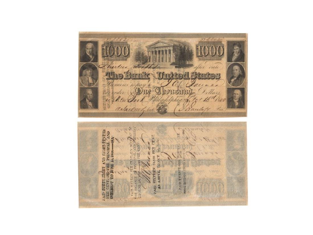 UNITED STATES 1840 Bank Note of the US $ 1000