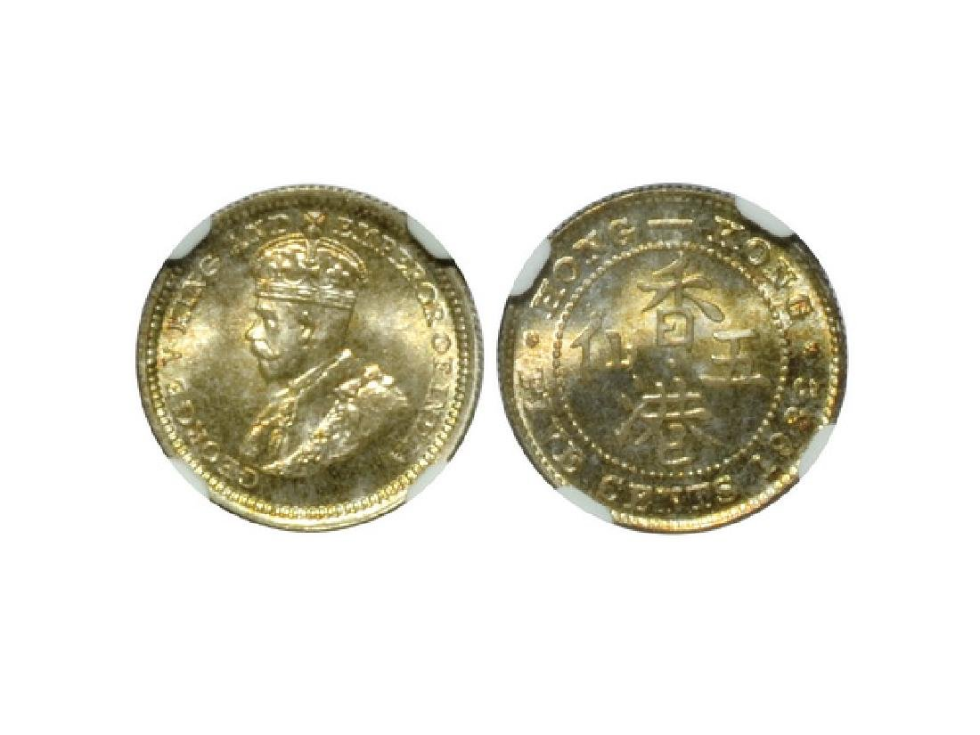 CHINA-HONG KONG 1932 5 Cents Silver, NGC MS68