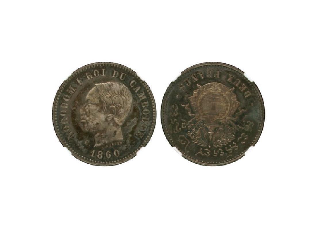 CAMBODIA 1860E Essai 2 Francs, NGC PF63