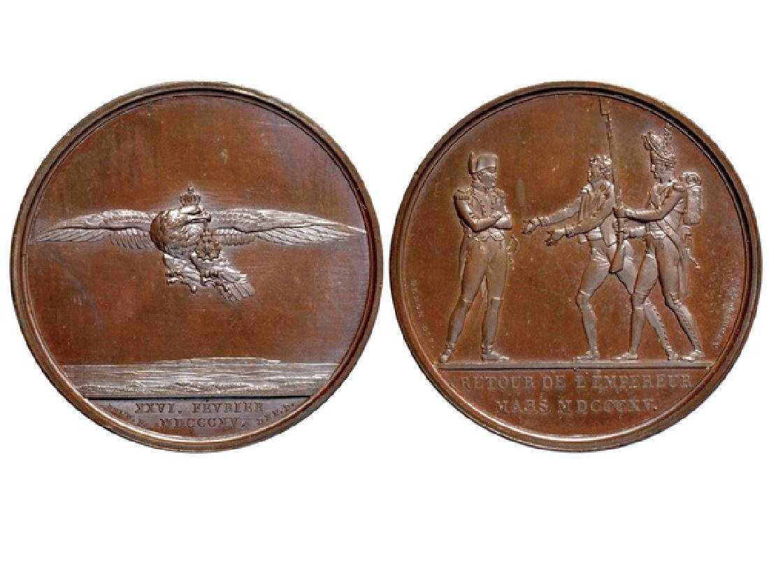 FRENCH 1815 Copper Medal ,Napoleon returns to France
