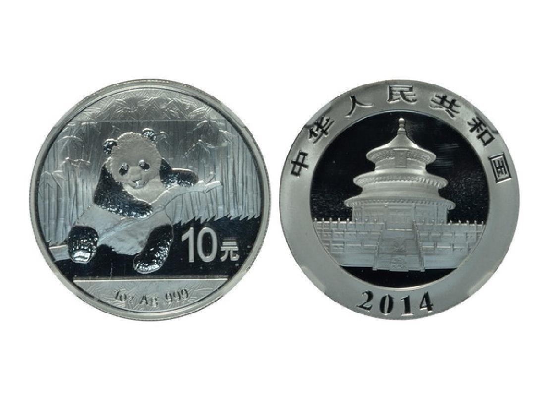 CHINA 2014 Panda 10 Yuan 1 Oz .999 Silver