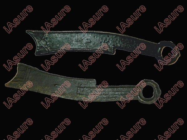 002: CHINA-ZHOU 400-220BC Qi Fa Hua Knife Coin