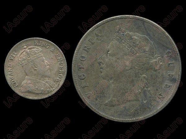 017: HONG KONG 1891 50 Cents/1904 10 Cents Silver(2)