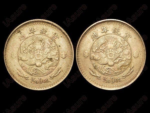 023: CHINA-EMPIRE 1/10 Dollar Nickel Pattern K222y AU
