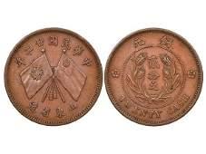 CHINA-SHANTUNG 1933 20 Cash Copper Pattern