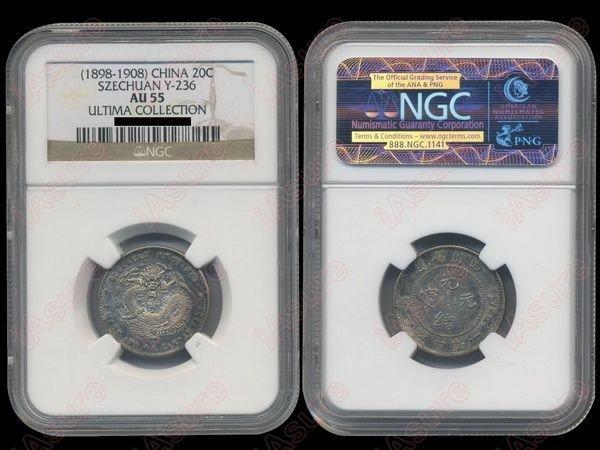 011: CHINA-SZECHUAN 1898-1908 20 Cents Silver NGC AU55