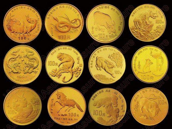 622: CHINA 1988-1999 Zodiac Gold Proof Set (12)