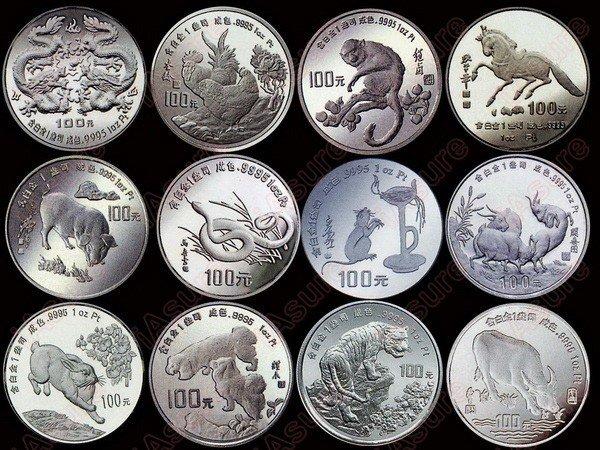 623: CHINA 1988-1999 Zodiac Platinum Proof Set(12)