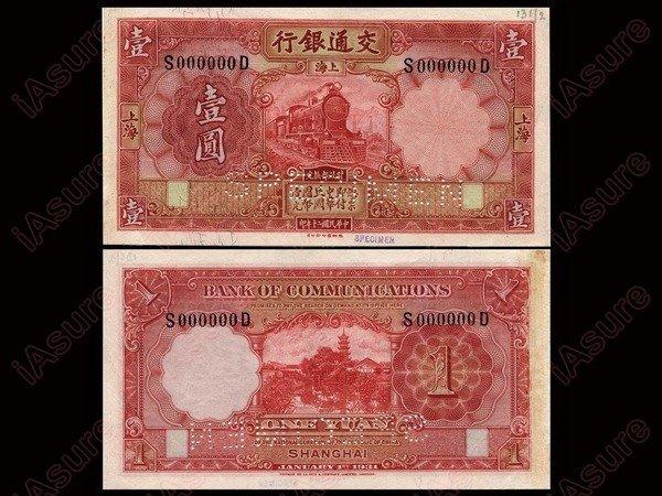 016: CHINA 1931 Bank of Communications - Shanghai $1