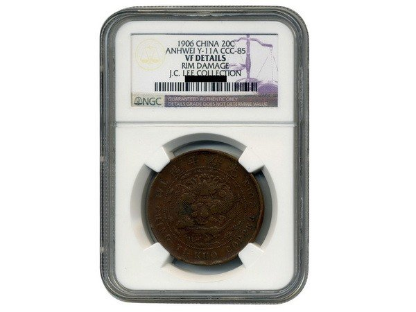 0313: CHINA-ANHWEI 1906 20 Cash Copper, NGC VF Details