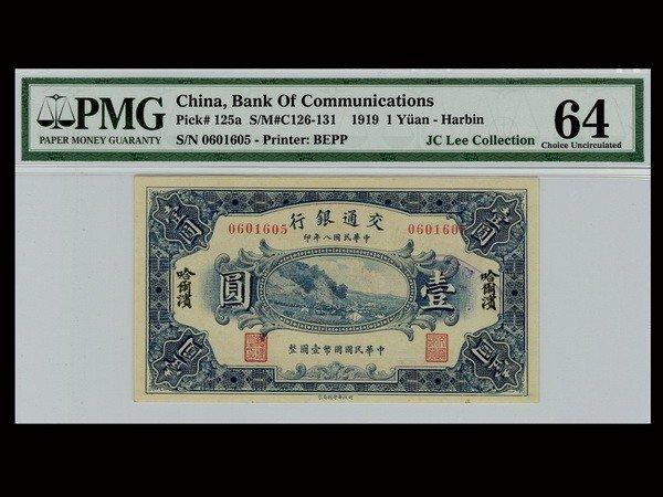 015: CHINA 1919 Bank of Communications - Harbin $1