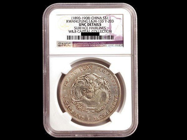 522: CHINA-KWANGTUNG 1890-1908 1 Dollar Silver NGC UNC