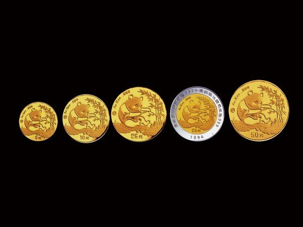1017: 1994 5-piece Panda[P] set Gold & Bimetal NGC PF69