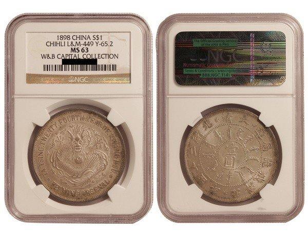 321: CHINA-CHIHLI 1898 One Dollar Silver, NGC MS63
