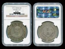 CHINA 1912 Li Yuan Hung 1 Dollar Silver, NGC XF40