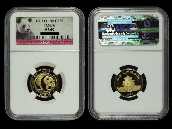 CHINA 1983 Panda 25 Yuan 1/4 Oz Gold, NGC MS69