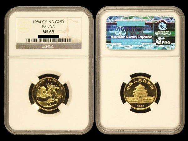 CHINA 1984 Panda 25 Yuan 1/4 Oz Gold, NGC MS69