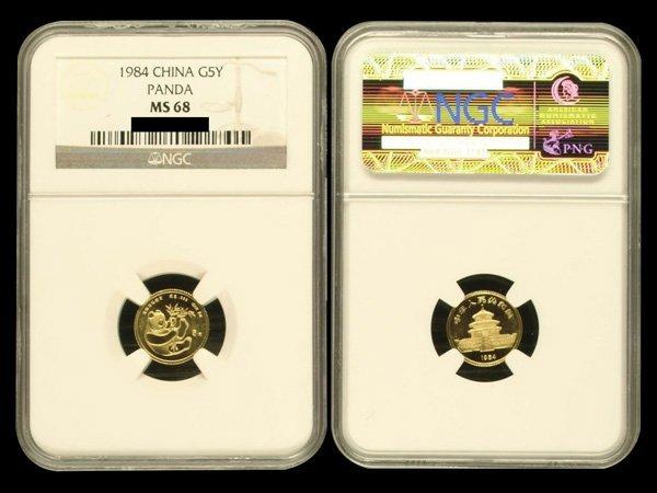 CHINA 1984 Panda 5 Yuan 1/20 Oz Gold, NGC MS68