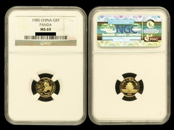 CHINA 1985 Panda 5 Yuan 1/20 Oz Gold, NGC MS69
