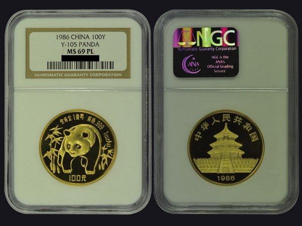 CHINA 1986 Panda 100 Yuan 1 Oz Gold Proof like, NGC