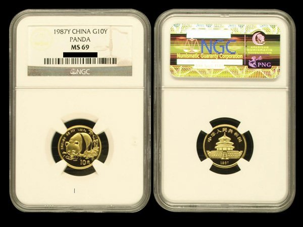 CHINA 1987Y Panda 10 Yuan 1/10 Oz Gold, NGC MS69