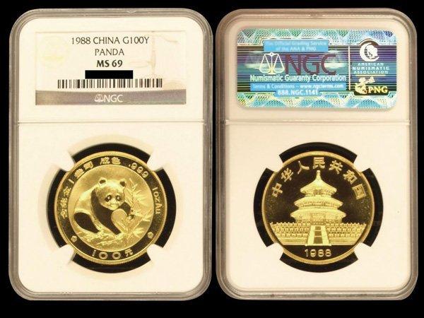CHINA 1988 Panda 100 Yuan 1 Oz Gold, NGC MS69