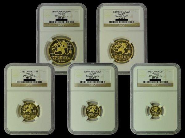 CHINA 1989 Panda Gold Set(5), all NGC MS69
