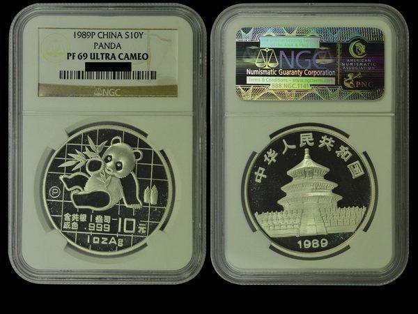 CHINA 1989P Panda 10 Yuan 1 Oz Silver, NGC PF69 ULTRA