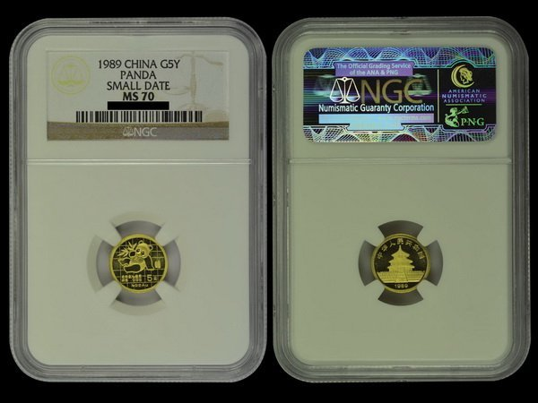 CHINA 1989 Panda 5 Yuan 1/20 Oz Gold, NGC MS70