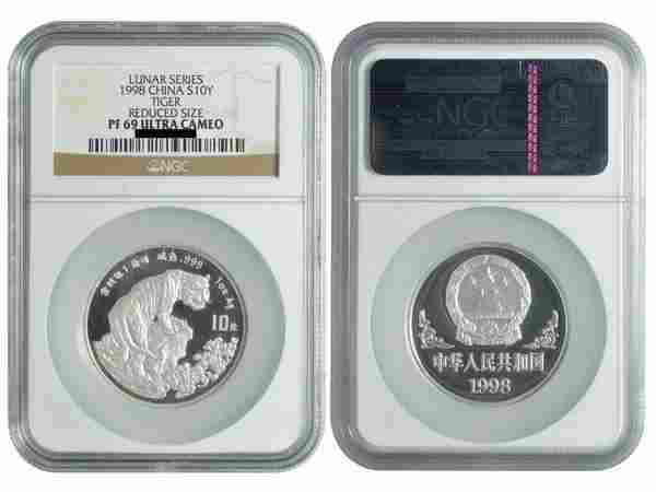 CHINA 1998 Tiger $ 10 1 Oz Silver Proof Piedfort