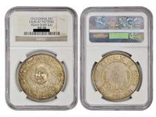 CHINA 1912 Y.S.K Large Beard $1 Silver Pattern, AU58