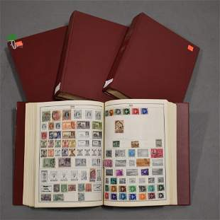 Lot 4 Harris Stamp Albums w/ U.S. & Foreign Stamps